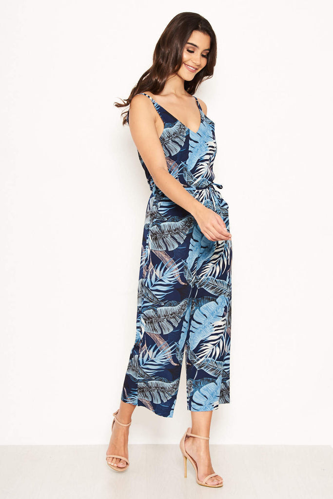 Navy Strappy Tropical Jumpsuit