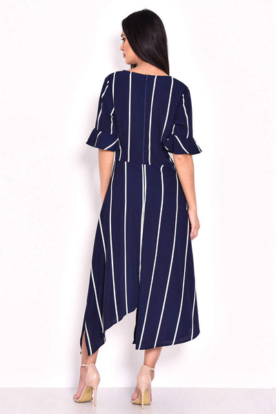 Navy Striped Asymmetric Hem Dress