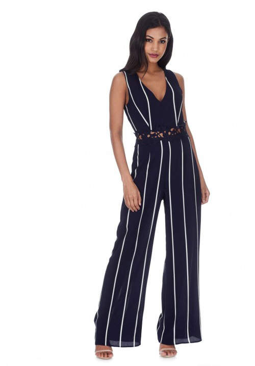 Navy Striped Crochet Detail Flared Leg Jumpsuit