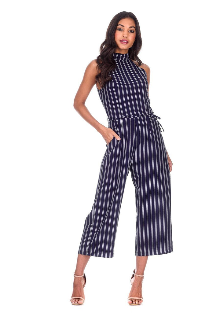 Navy Striped Culotte Jumpsuit