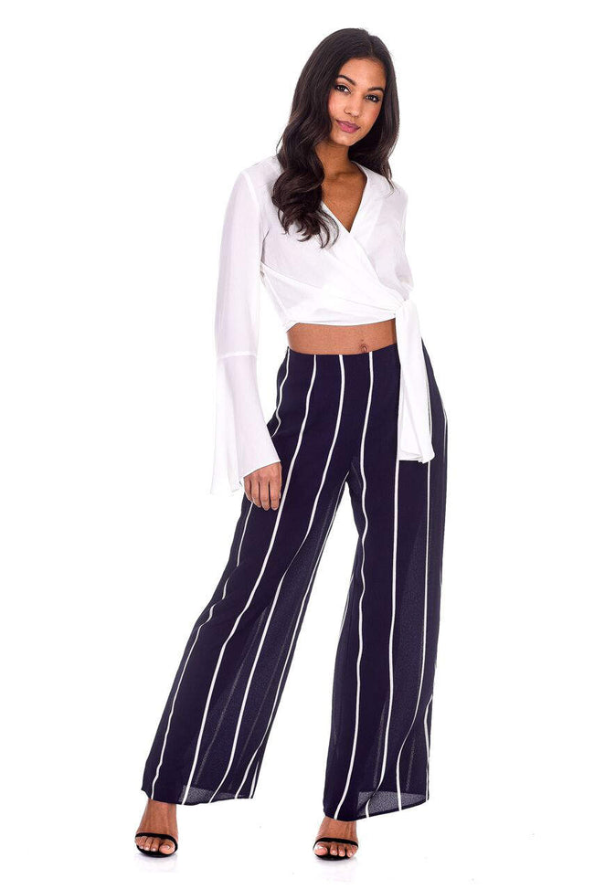 Navy Striped Flair Trousers