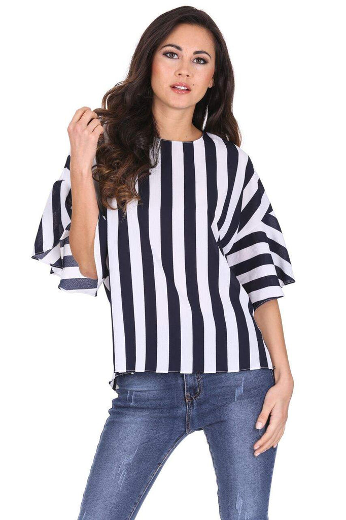 Navy Striped Flare Top
