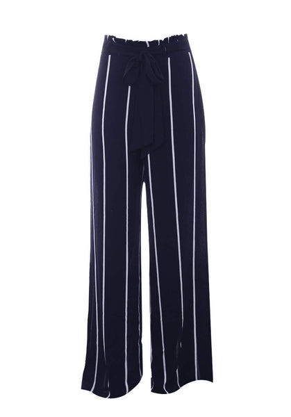 Navy Striped Flared Trousers