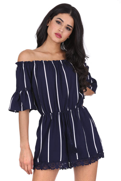 Navy Striped Off The Shoulder Bell Sleeve Playsuit