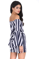 Navy Striped Off The Shoulder Playsuit