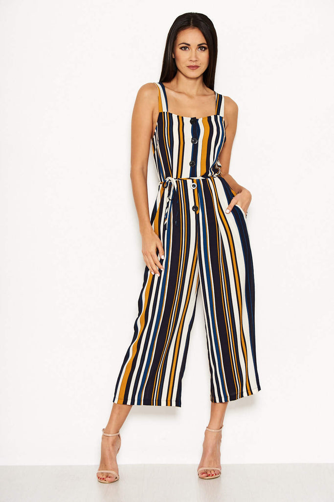 Navy Striped Button Front Jumpsuit
