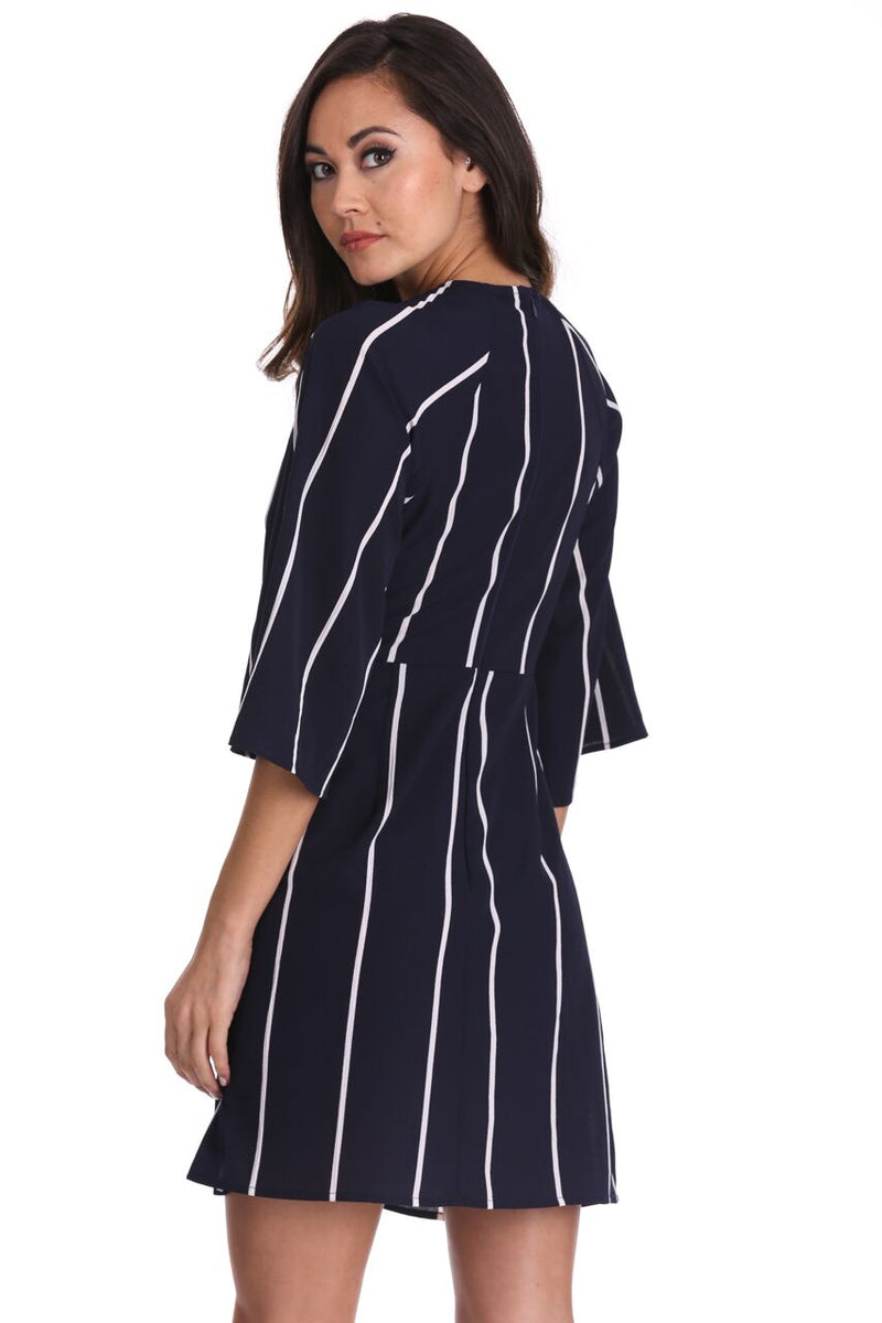 Navy Striped Tie Waist Mini Dress