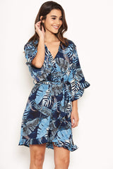 Navy Tropical Print Wrap Dress