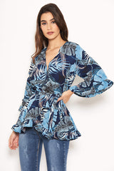 Navy Tropical Print Wrap Top