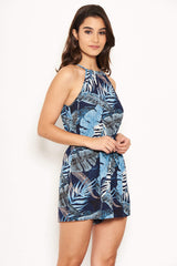 Navy Tropical Tie Waist Playsuit