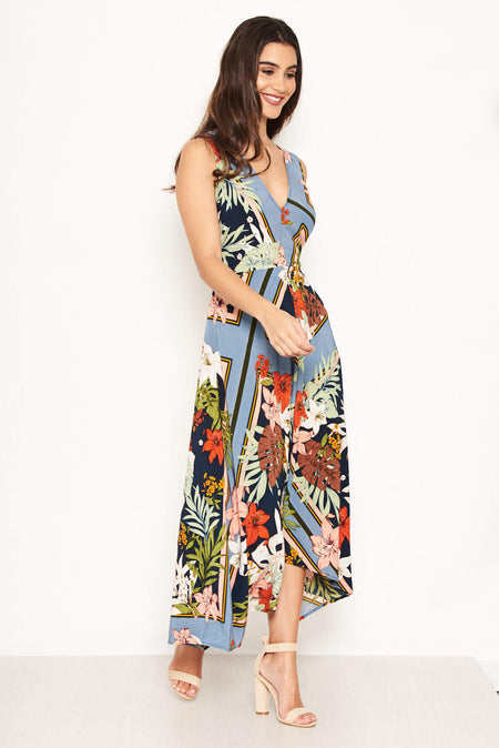 Navy Floral Wrap-Over Dress