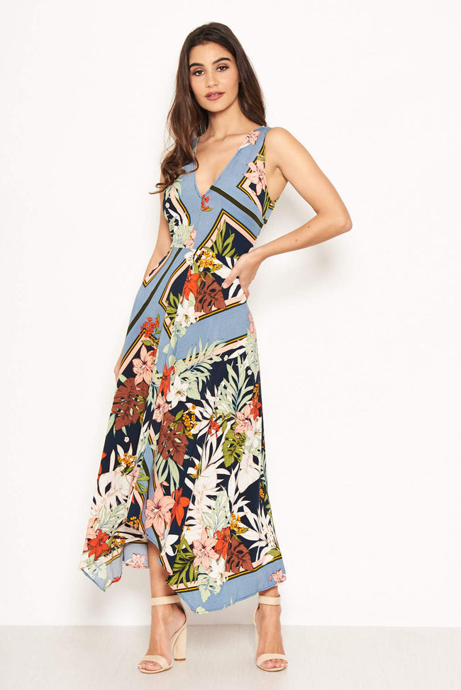 Navy Tropical V Neck Midi Dress
