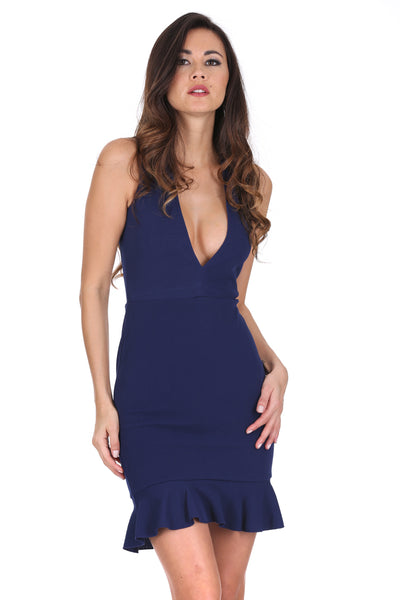 Navy V Neck Fishtail Mini Dress
