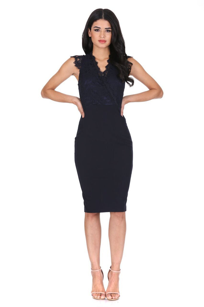 Navy V-neck Lace Midi Dress