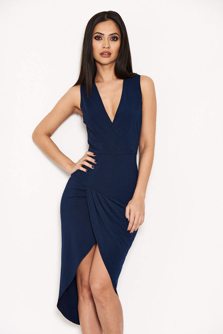 Navy Frill Front Bodycon Dress