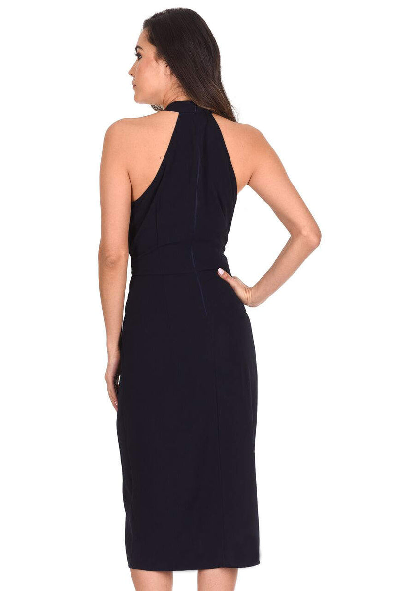 Navy Wrap Skirt Cut In Neck Dress