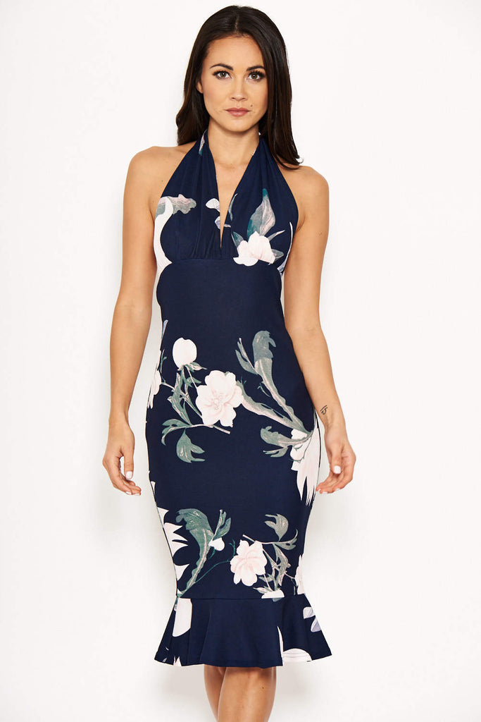 Navy Floral Backless Fishtail Midi Dress