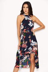 Navy Floral Halter Neck Dress