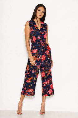 Navy Floral Culotte Jumpsuit With Tie Waist