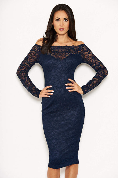 Blue Off The Shoulder Lace Midi Dress With Delicate Straps