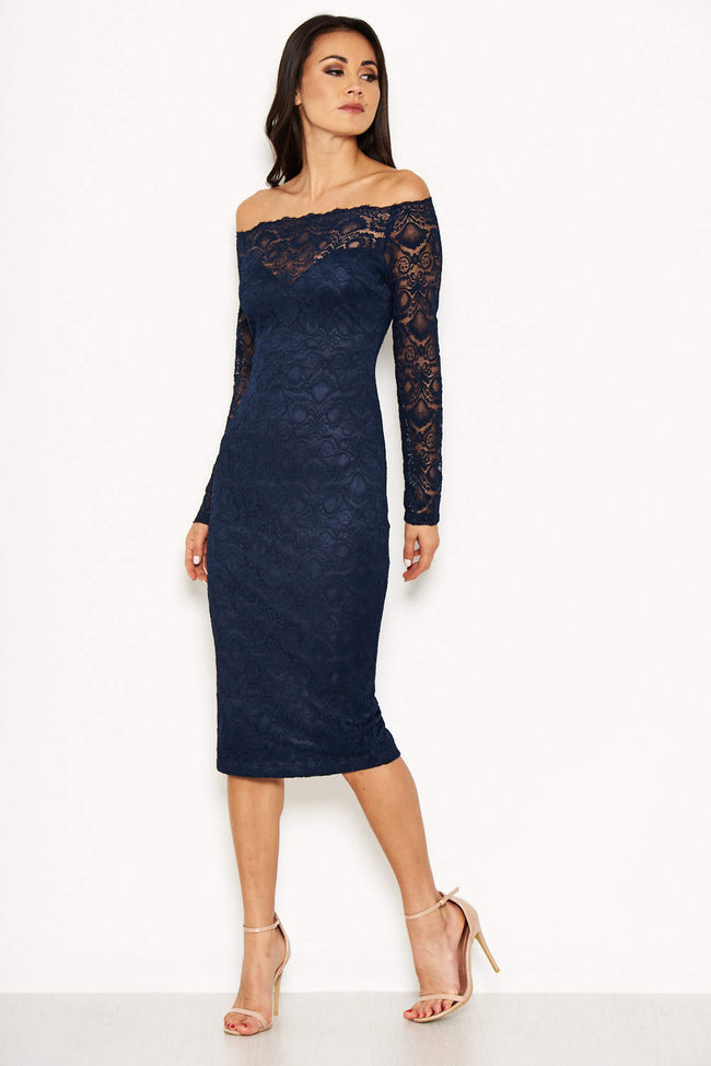 926b84d20694 Navy Lace Off The Shoulder Midi Dress