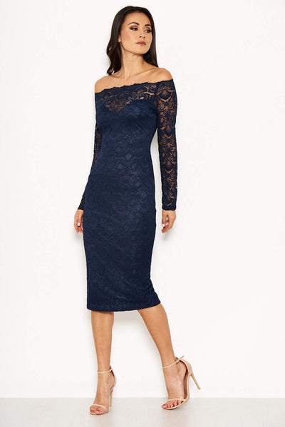 Navy Lace Off The Shoulder Midi Dress
