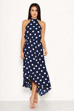 Navy Polka Dot Print High Neck Maxi Dress