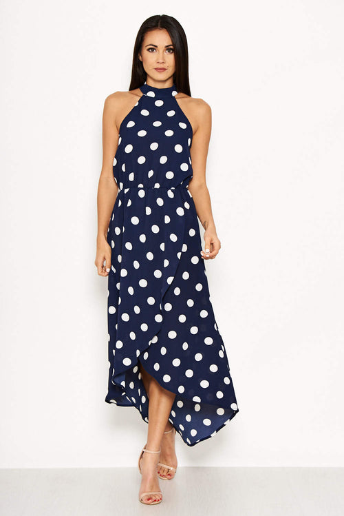 Navy Polka Dot Print High Neck Midi Dress