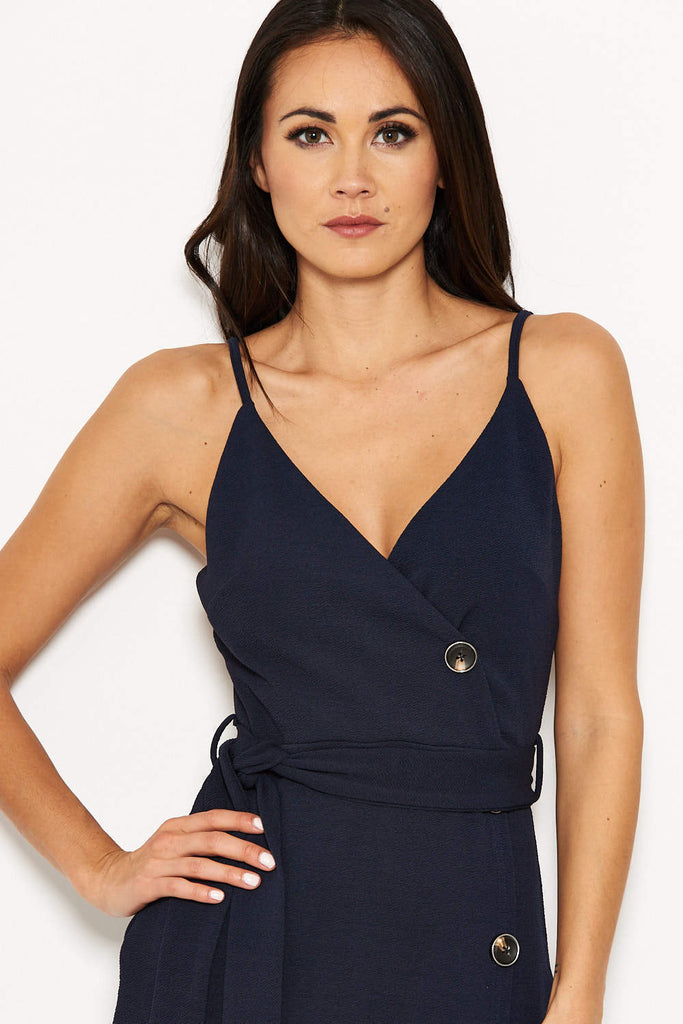 Navy Button Front Detail Tie Dress