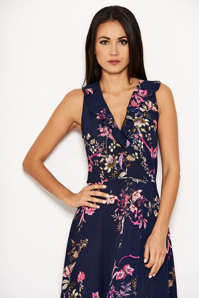 Navy Floral Dip Hem Dress