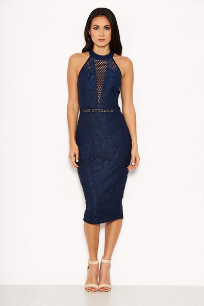 Navy Halter-Neck Lace Detail Midi Dress