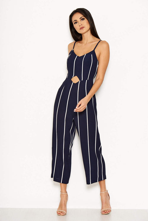 Navy Striped Cut Out Waist Jumpsuit