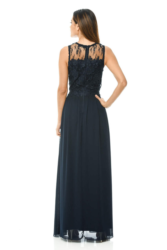 Navy Crochet Top Maxi Dress