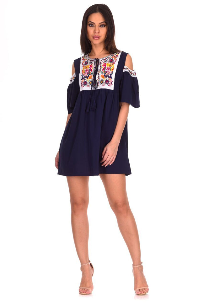 Navy Aztec Cold Shoulder Dress