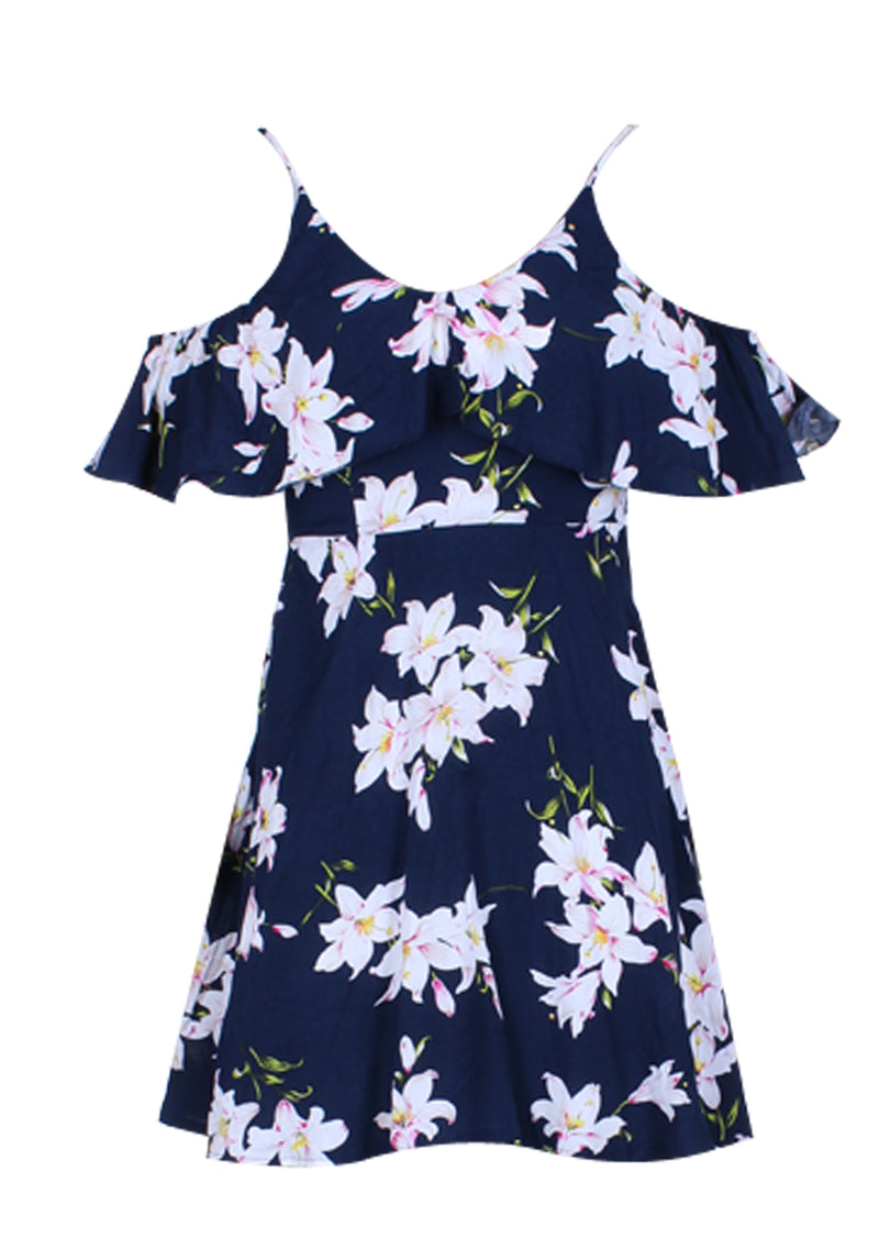 Navy Cold Shoulder Frill Skater Dress