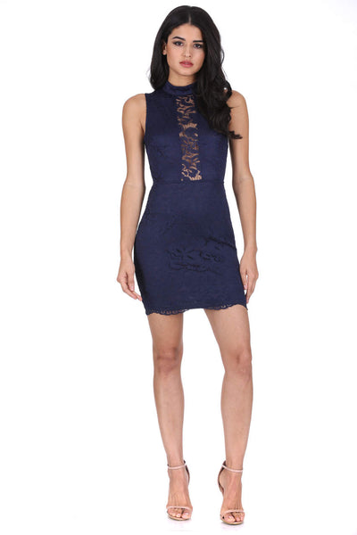 Navy High Neck Lace Dress