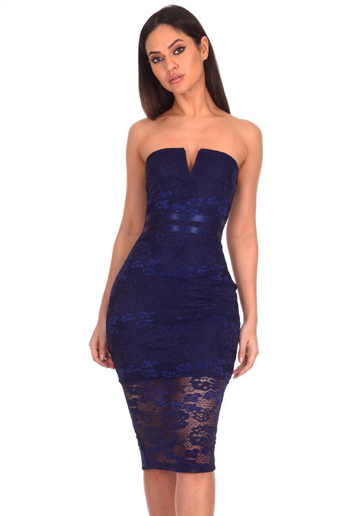 Navy Notch Front Lace Bodycon Midi Dress