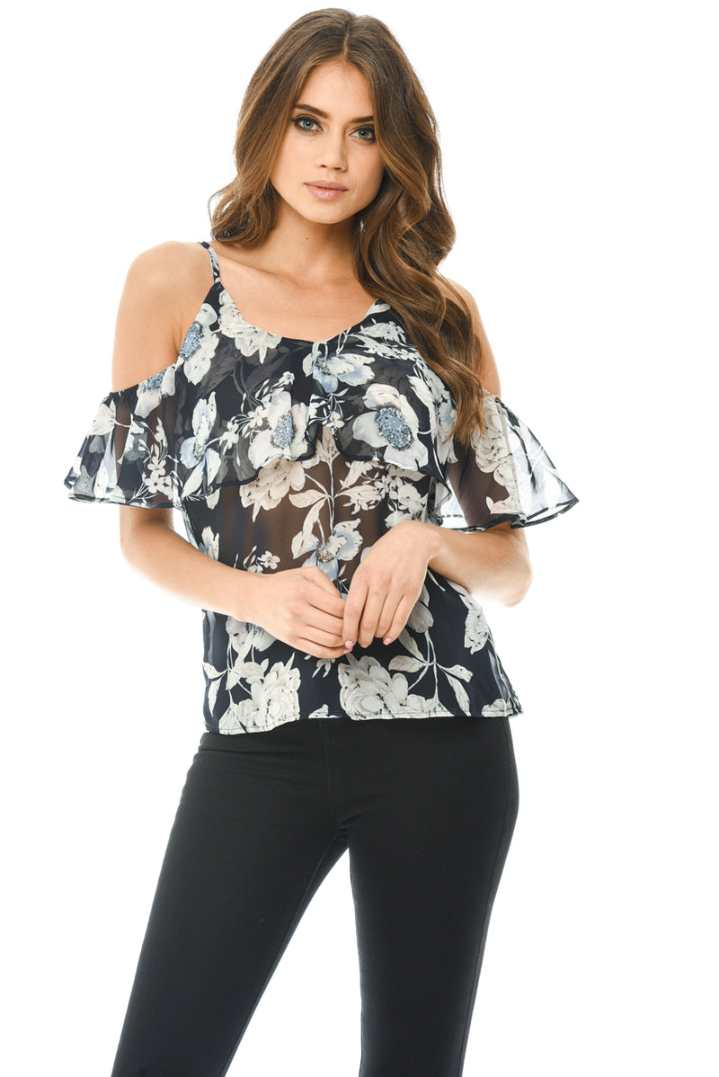 Navy Chiffon Cut Out Shoulder Frill Top