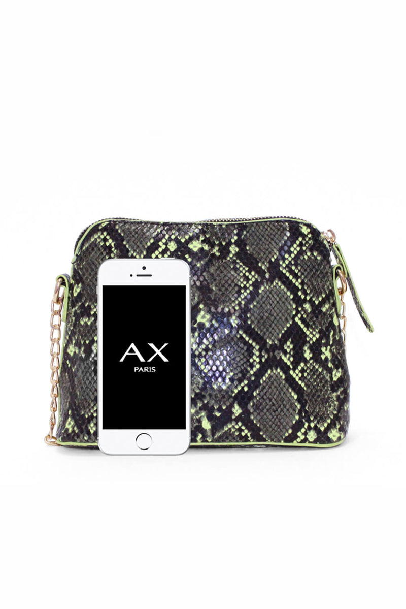 Neon Green Snake Print Cross Over Bag