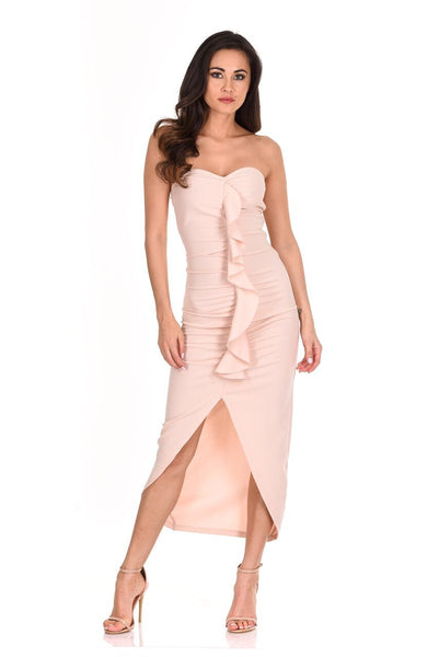 Nude Bardot Frill Detail Midi Dress