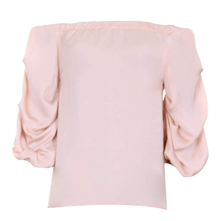 Nude Bardot Top With Ruched Sleeves