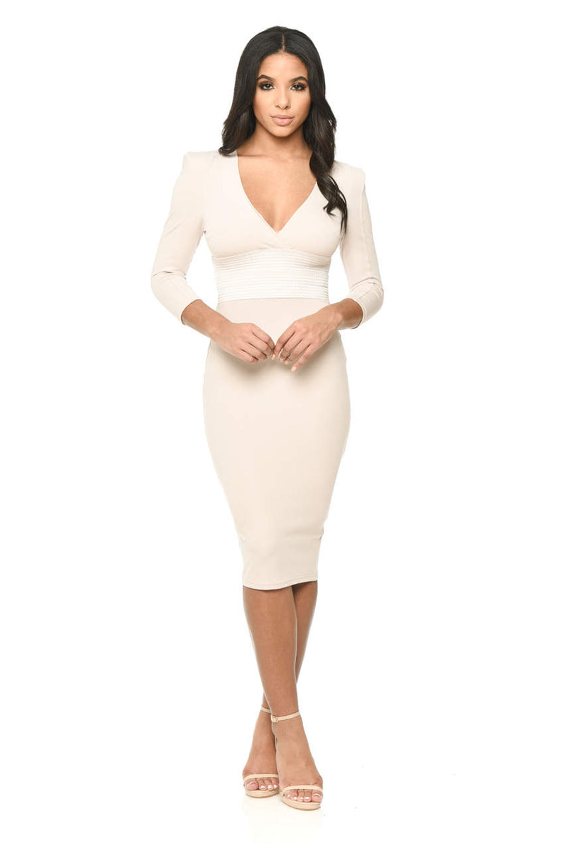 Nude Bodycon With Bandage Waist And Wrap Over Details