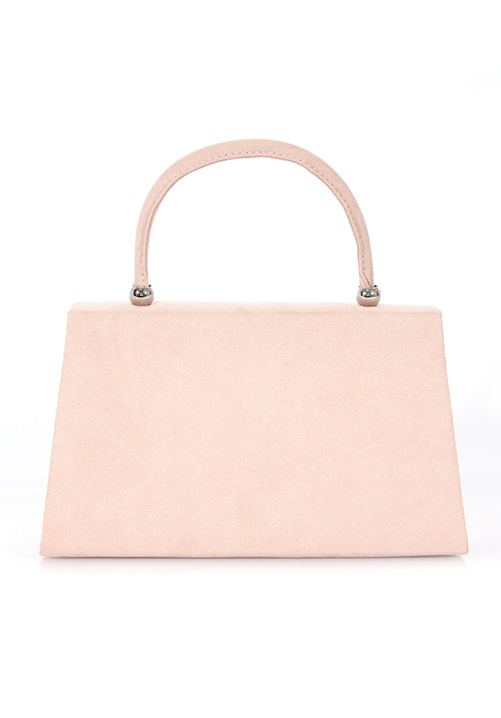 Nude Box Bag with Structured Strap