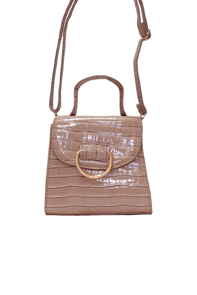Nude Croc Mini Patent Bag With Gold Ring