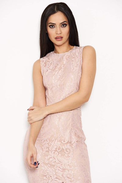 Nude Fishtail Hem Lace Midi Dress