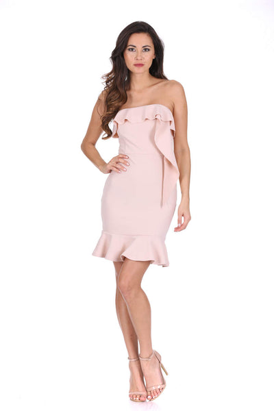 Nude Bandeau Frill Detail Dress