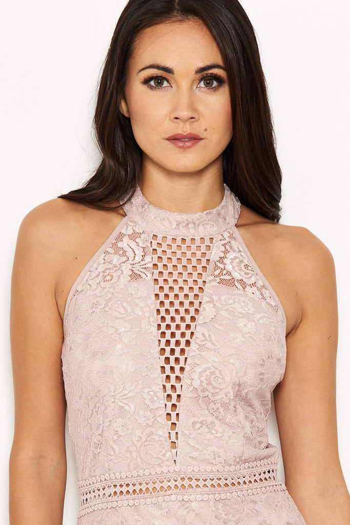 Nude Halter-Neck Lace Detail Midi  Dress