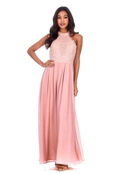 Nude Lace Detail Maxi Dress