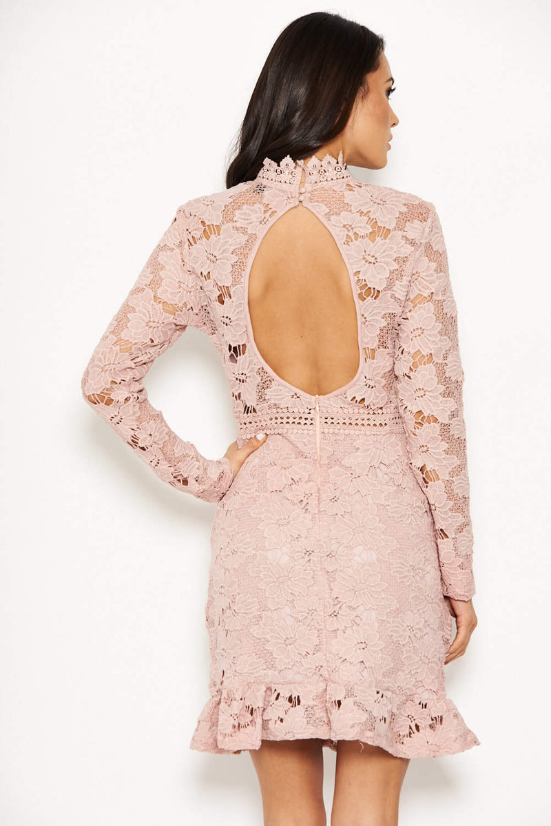 Nude Lace Dress With Frill Hem And Cut Out Back