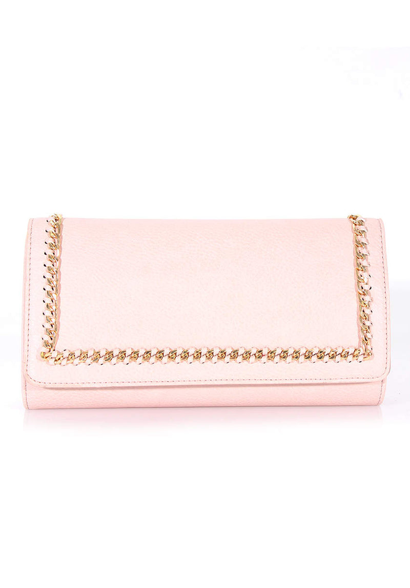 Nude Leather Look Clutch with Gold Chain Detail